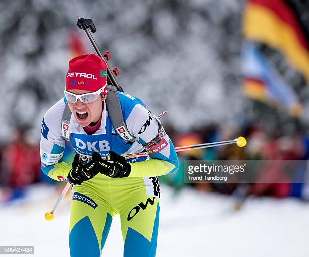 Teja Gregorin of Slovenia in action during the Women 4 x 5 km relay Biathlon race at the IBU Biathlon World Cup Ruhpolding on January 17 2016 in...