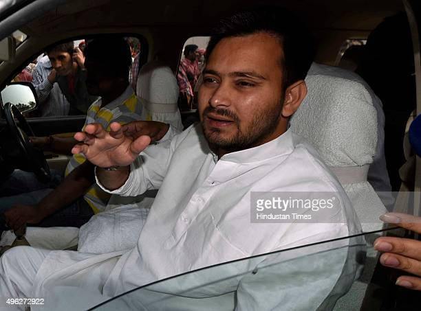 Tejashwi Yadav son of RJD Chief Lalu Prasad Yadav after the results of the Bihar Assembly elections on November 8 2015 in Patna India Nitish Kumar...
