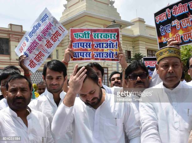 Tejaswi Yadav at Bihar Assembly on July 28 2017 in Patna India Newly swornin Chief Minister of Bihar won the trust vote on Friday in the Bihar...