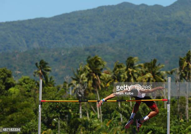 Tejaswin Shankar of India clears the bar in the boys high jump during the athletics competition at the Apia Park Sports Complex on day one of the...