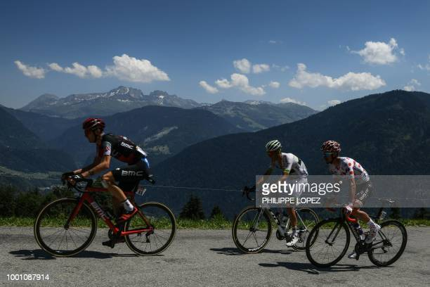 Tejay Van Garderen, France's Warren Barguil and France's Julian Alaphilippe, wearing the best climber's polka dot jersey, ride in the ascent of...