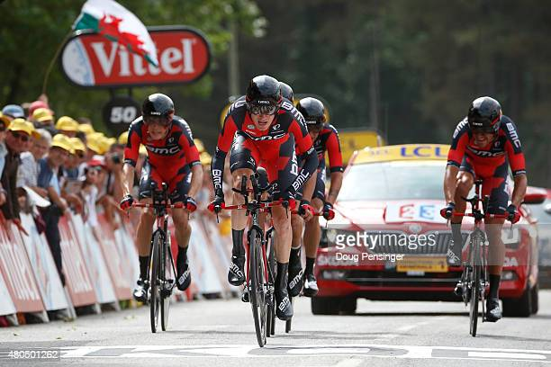 Tejay van Garderen of the United States and BMC Racing Team and his teammates cross the finish line to win stage nine of the 2015 Tour de France, a...