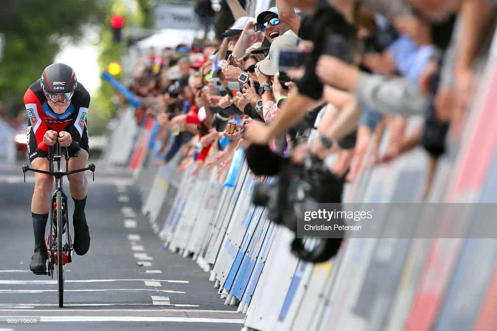 Tejay van Garderen of The United States and BMC Racing Team croses the finish line to win stage four of the 13th Amgen Tour of California 2018 San Jose / Morgan Hill a 34.7 km Individual Time Trial on May 16, 2018 in Morgan Hill, California.