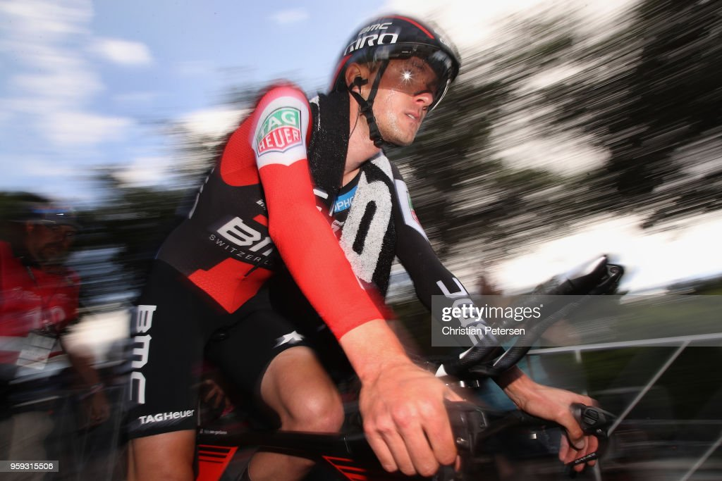 Tejay van Garderen of The United States and BMC Racing Team reacts after winning stage four of the 13th Amgen Tour of California 2018 San Jose / Morgan Hill a 34.7 km Individual Time Trial on May 16, 2018 in Morgan Hill, California.