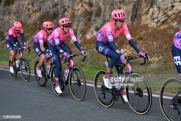 Tejay Van Garderen of The United States and Team EF Pro Cycling / Hugh Carthy of The United Kingdom and Team EF Pro Cycling / Logan Owen of The...