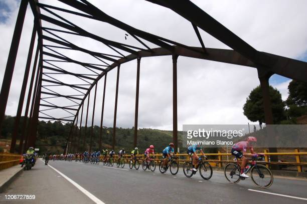 Tejay Van Garderen of The United States and Team EF Pro Cycling / Arturo Sierra Yecid of Colombia and Team Colombia / Peloton / Landscape / Bridge /...