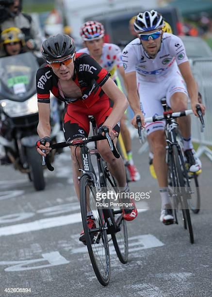Tejay van Garderen of the United States and the BMC Racing Team leads the group with Thibaut Pinot of France and FDJ.fr in the Best young rider's...