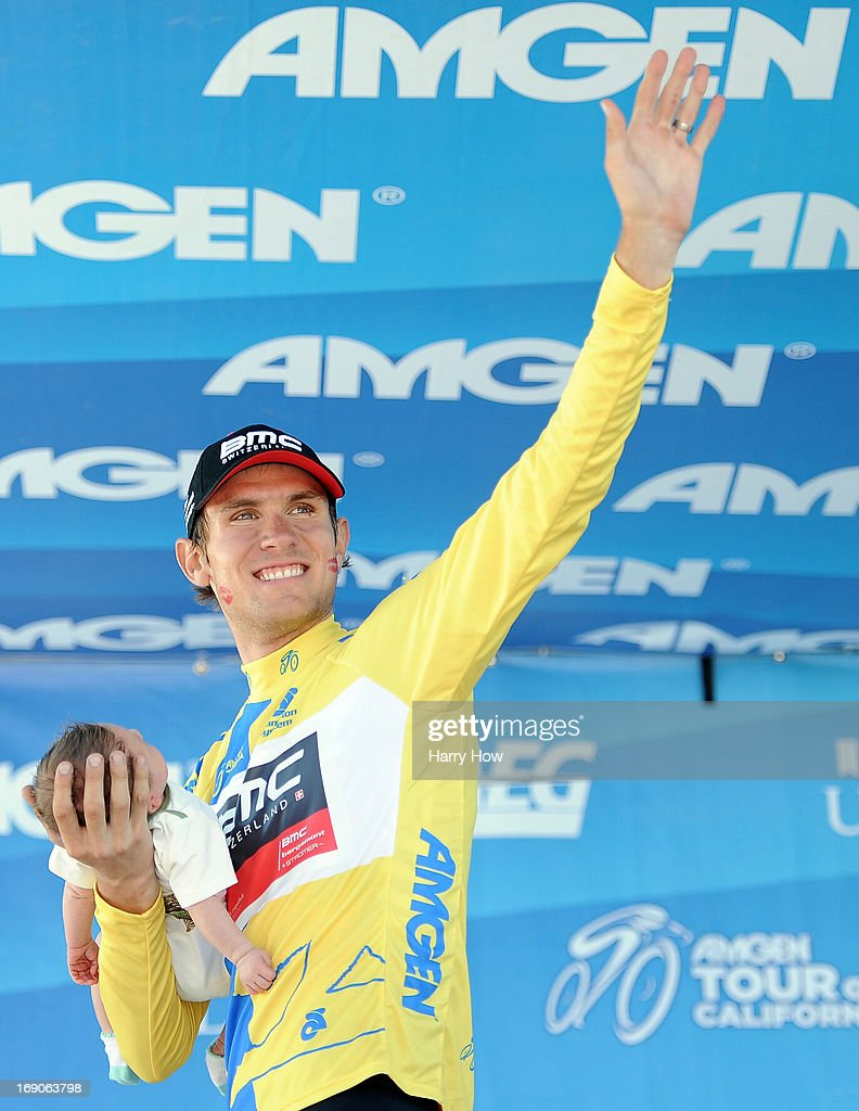 Tejay van Garderen of the United States riding for BMC Racing celebrates his win of the Tour California while holding his baby after Stage 8 on May 19, 2013 in Santa Rosa, California.