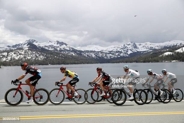 Tejay van Garderen of the United States riding for BMC Racing Team in the yellow Amgen Race Leader Jersey and Egan Arley Bernal Gomez of Colombia...