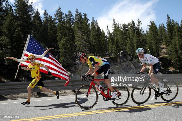Tejay van Garderen of the United States riding for BMC Racing Team in the yellow Amgen Race Leader Jersey and Tao Geoghegan Hart of Great Britain...
