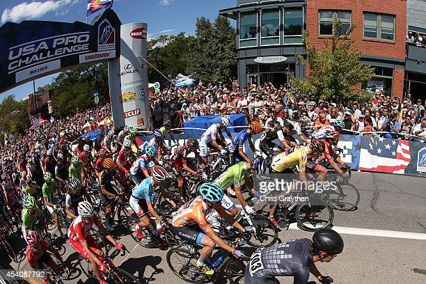 Tejay van Garderen of the United States riding for the BMC Racing Team in the yellow leader's jersey starts the final stage of the 2014 USA Pro...