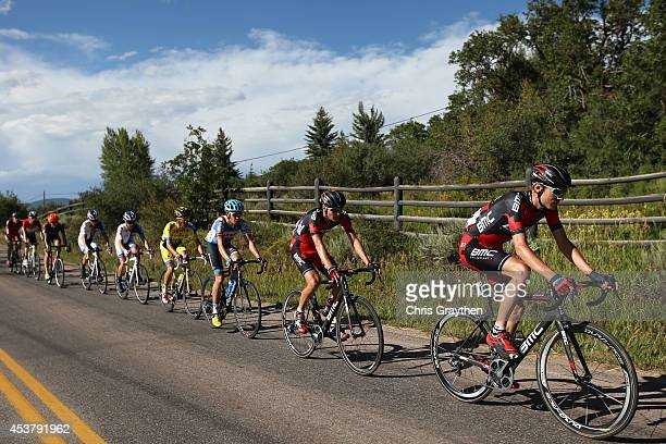 Tejay van Garderen of the United States riding for the BMC Racing Team rides in the peloton during stage one of the 2014 USA Pro Challenge on August...