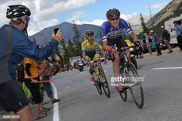 Tejay van Garderen of the United States riding for the BMC Racing Team leads Rafal Majka of Poland riding for Tinkoff-Saxo on the climb to the finish...