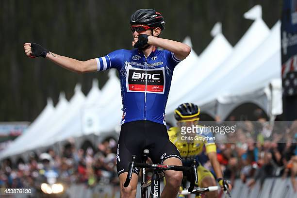 Tejay van Garderen of the United States riding for the BMC Racing Team celebrates as he crosses the finish line to win ahead of Rafal Majka of Poland...