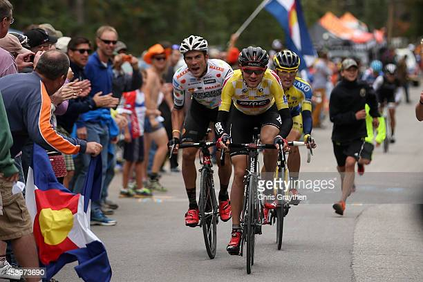 Tejay van Garderen of the United States riding for the BMC Racing Team leads Serghei Tvetcov of Romania riding for Jelly Belly presented by Maxxis...