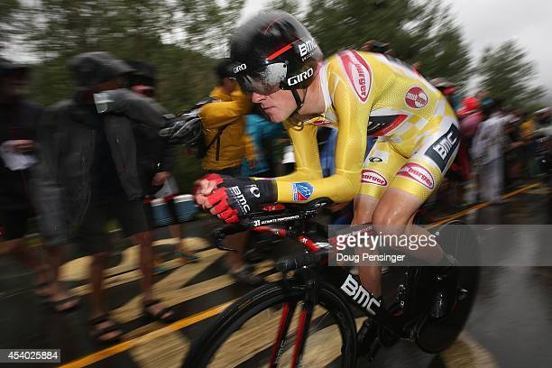 Tejay van Garderen of the United States riding for the BMC Racing Team races to first place in the individual time trial during stage six and defends...