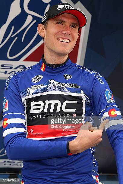 Tejay van Garderen of the United States riding for the BMC Racing Team points to the Colorado logon on his jersey after winning the individual time...