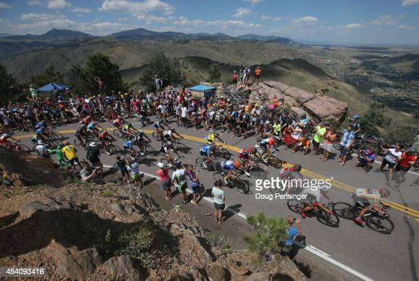 Tejay van Garderen of the United States riding for the BMC Racing Team defends the overall race leader's yellow jersey as he makes the climb of...