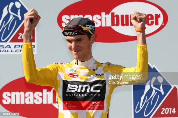 Tejay van Garderen of the United States riding for the BMC Racing Team celebrates in the yellow leader's jersey after winning the overall...