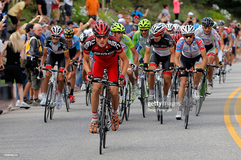 Tejay Van Garderen of the USA riding for BMC Racing attacks the group of the yellow jersey on the climb to the finish during stage four of the USA Pro Challenge from Aspen to Beaver Creek on August 23, 2012 in Beaver Creek, Colorado. Van Garderen finished third in the stage and won the overall race leader's yellow jersey.