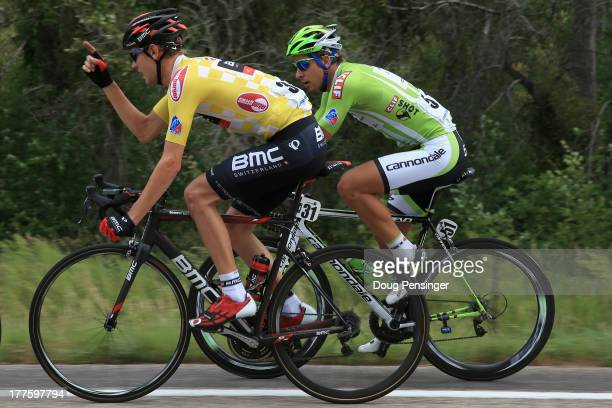 Tejay van Garderen of the USA riding for BMC Racing defends the overall race leader's yellow jersey and Peter Sagan of Slovakia riding for Cannondale...