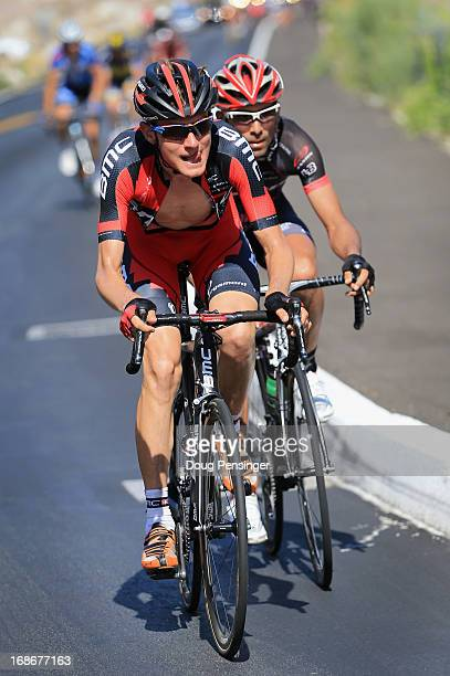 Tejay van Garderen of the USA riding for BMC Racing leads Javier Acevedo of Columbia riding for Jamis-Hagens Berman on the climb to the Palm Springs...