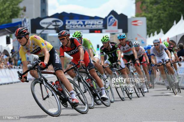 Tejay van Garderen of the USA riding for BMC Racing races in the peloton during stage seven as he defended the yellow jersey to win the 2013 USA Pro...