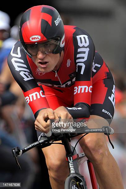 Tejay Van Garderen of the USA riding for BMC Racing races to fourth place in the prologue and earns the best young rider jersey in the 2012 Tour de...