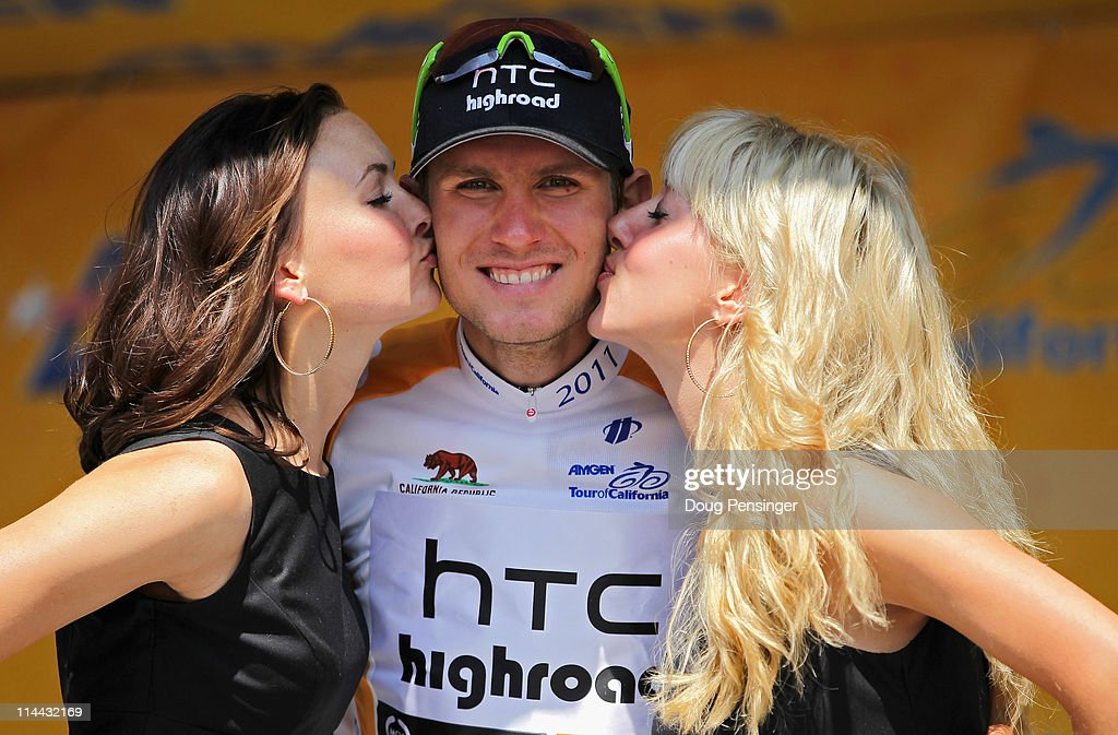 Tejay Van Garderen of the USA riding for HTC-Highroad takes the podium to receive the best young rider jersey after stage five of the 2011 AMGEN Tour of California from Seaside to Paso Robles on May 19, 2011 in Paso Robles, California.