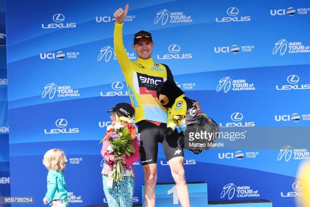 Tejay Van Garderen of USA and Team Bmc Racing Team celebrates on the podium with his family after stage four of the 13th Amgen Tour of California...