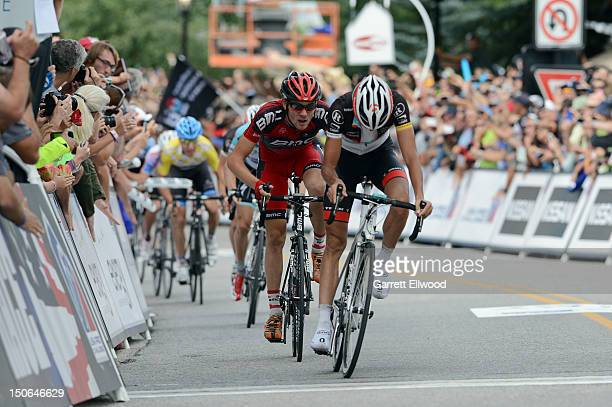 Tejay Van Garderen riding for BMC Racing finishes third behind Andreas Kloden of Germany riding for RadioShack-Nissan-Trek at the finish of Stage...