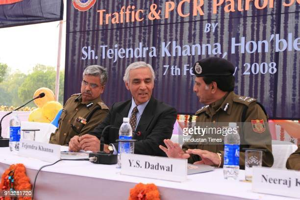 Tejendra Khanna Lt Governor of Delhi and Police Commisnar YS Dadwal flagg off Fleet of 200 Traffic and Police Control Room motor cycles at India Gate...