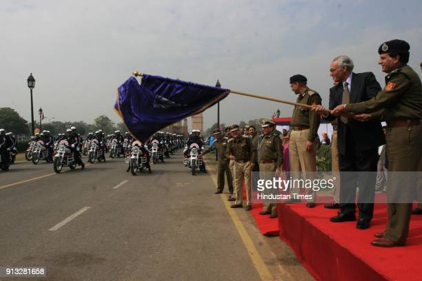 Tejendra Khanna Lt Governor of Delhi and Police Commissioner YS Dadwal flagg off fleet of 200 traffic and Police Control Room motorcycles at India...