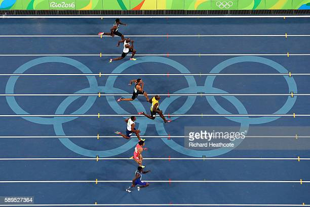 Tejhae Greene of Antigua and Barbuda Kim Collins of Saint Kitts and Nevis Andre De Grasse of Canada Usain Bolt of Jamaica Chijindu Ujah of Great...
