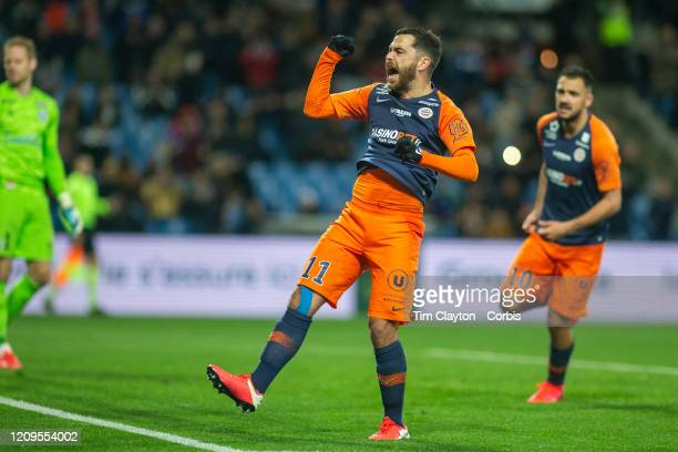 February 29: Teji Savanier of Montpellier celebrates after scoring from the penalty spot during the Montpellier V Strasbourg, French Ligue 1 regular...