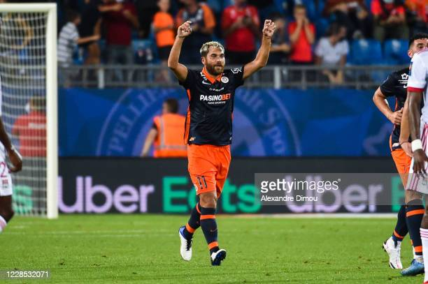 Teji SAVANIER of Montpellier celebrates his scoring during the Ligue 1 match between Montpellier and Lyon at Stade de la Mosson on September 15, 2020...
