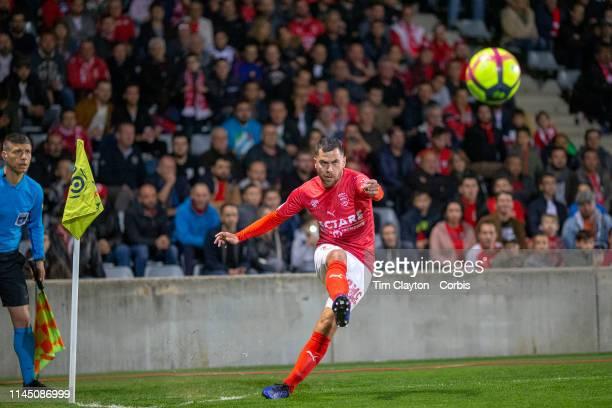 April 20: Teji Savanier of Nimes takes a corner during the Nimes V Bordeaux, French Ligue 1, regular season match at Stade des Costières on April...