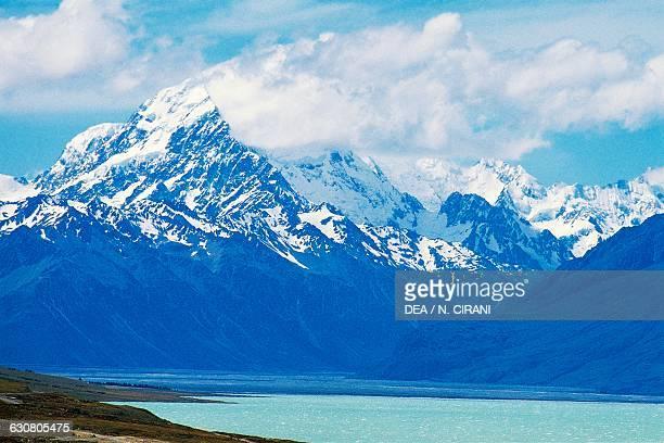 Tekapo lake with AorakiMount Cook in the background New Zealand