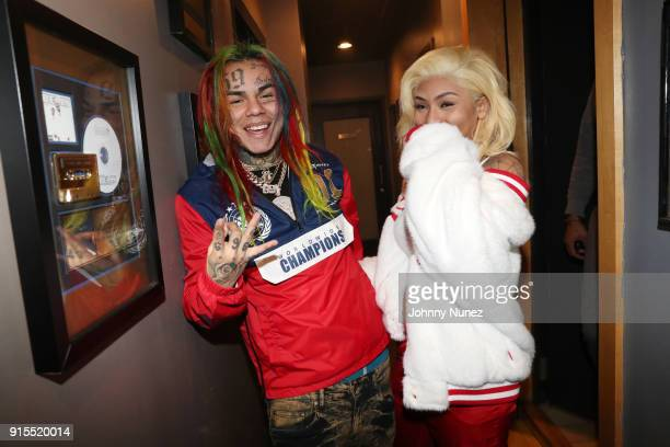 Tekashi 69 and Cuban Doll attend a Studio Session at Quad Studios on February 6 2018 in New York City