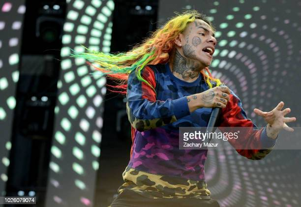 Tekashi 6ix9ine performs on the Rocky Stage during Day 1 of the 2018 Made in America Festival at Benjamin Franklin Parkway on September 1 2018 in...