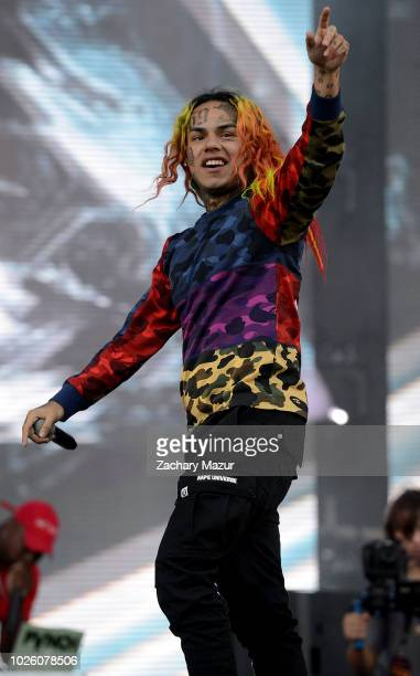 Tekashi 6ix9ine performs on the Rocky Stage during the 2018 Made in America Festival Day 1 at Benjamin Franklin Parkway on September 1 2018 in...