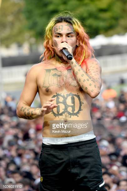 Tekashi 6ix9ine performs onstage during the 2018 Made In America Festival Day 1 at Benjamin Franklin Parkway on September 1 2018 in Philadelphia...