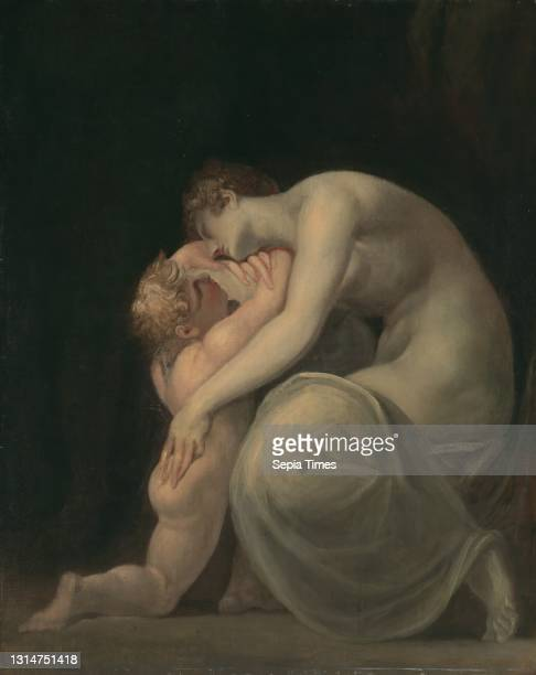 Tekemessa and Eurysakes, Henry Fuseli, 1741–1825, Swiss, active in Britain , between 1800 and 1810, Oil on canvas, Support : 40 7/8 x 32 5/8 inches ,...