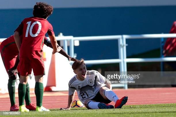 Tekin Gencoglu of Germany U16 is injured during UEFA Development Tournament match between U16 Germany and U16 Portugal at VRSA Stadium on February 11...