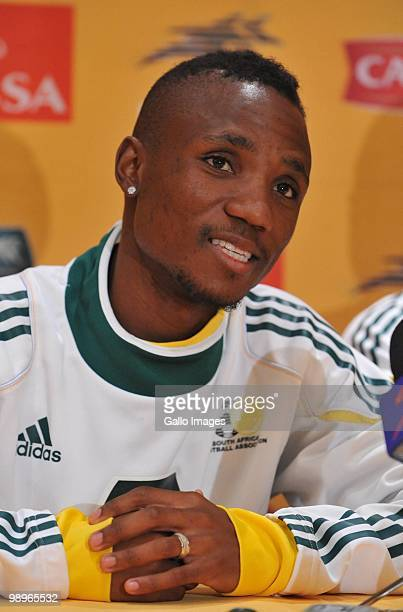 Teko Modise of South Africa attends the Bafana Bafana press conference at the Southern Sun Grayston on May 11 2010 in Sandton South Africa