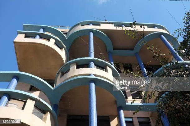 Tel Aviv balconies, low angle view