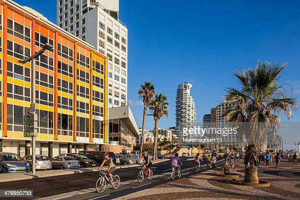 tel aviv, bicycles on the seaside - tel aviv stock pictures, royalty-free photos & images