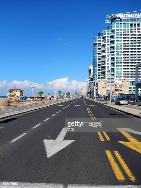 Tel Aviv boardwalk and fast road to Jaffa