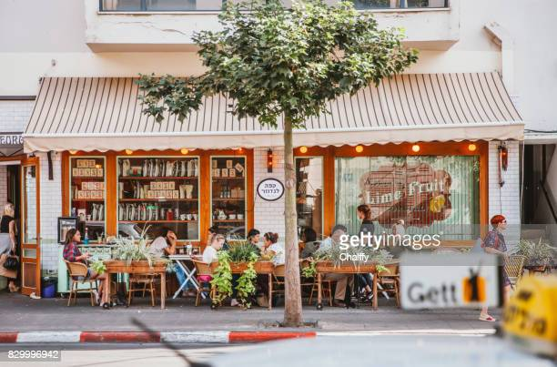 tel aviv cafe - tel aviv stock pictures, royalty-free photos & images