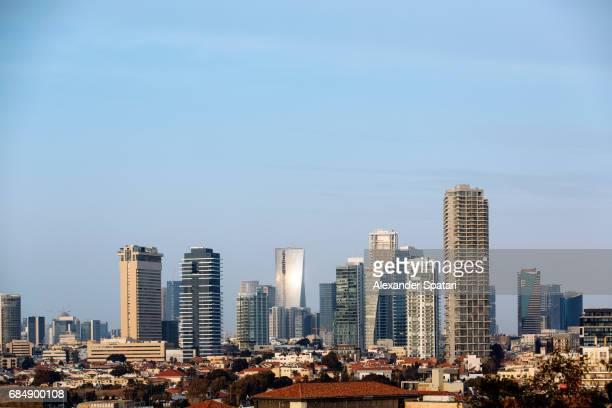 tel aviv city skyline against blue sky, tel aviv, israel - tel aviv stock pictures, royalty-free photos & images